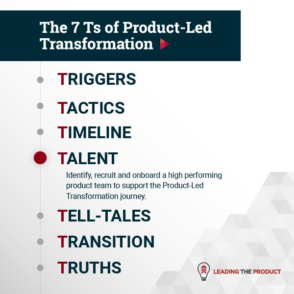 TALENT: The 7Ts Of Product-Led Transformation
