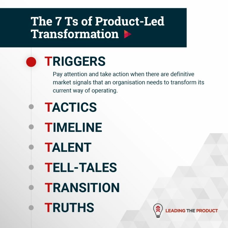 TRIGGERS:  The 7 Ts of Product-Led Transformation
